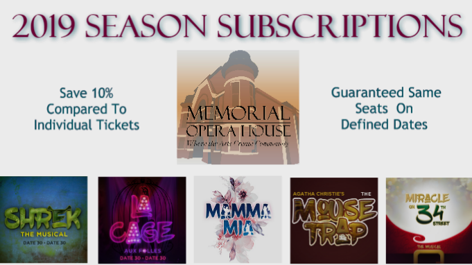CLICK HERE for more information about 2019 Season Subscriptions