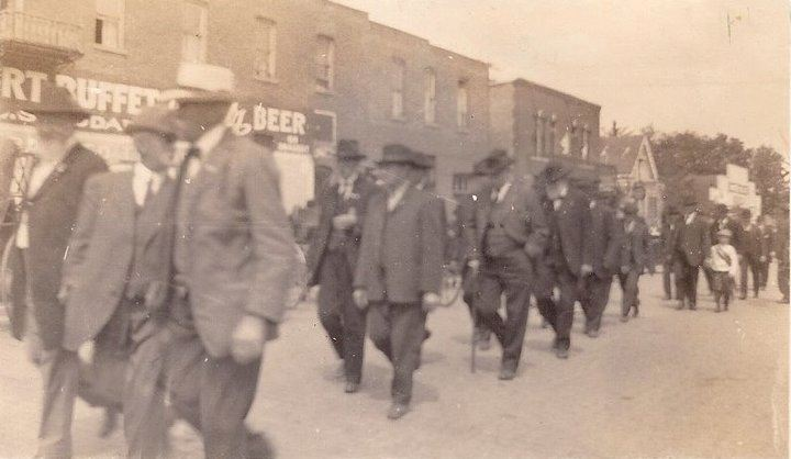 Chaplain Brown Post of the GAR in downtown Valparaiso.  If this is a picture of their march from the